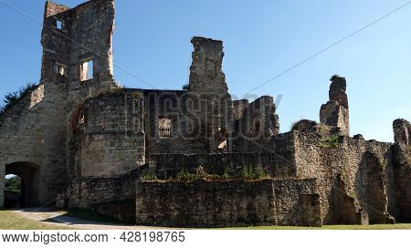 Ruin Of Boskovice Castle In The Czech Republic.view Of The Remains Of Battlements