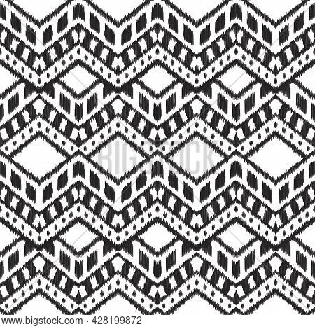 Ikat Seamless Pattern For Home Decor Ideas, Textile, Wallpaper, Card Or Wrapping Paper. Ethnic, Indi