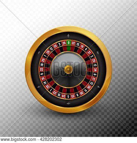 Roulette Wheel Vector Casino Fortune Gold Spin Circle. Roulette Realistic Icon Black Vegas Game Back