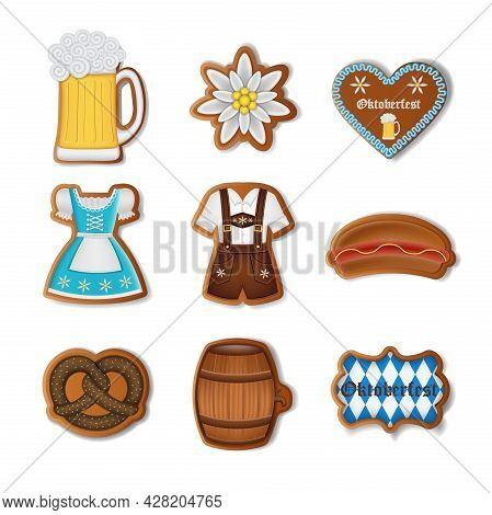 Set Of Isolated Oktoberfest Gingerbread Cookies Vector