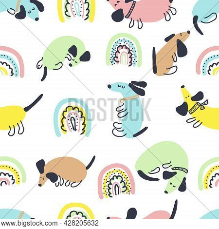 Multicolor Summer Seamless Pattern Of Dachshunds And Rainbows. Perfect For Scrapbooking, Greeting Ca