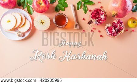 Rosh Hashanah (jewish New Year Holiday), Concept Of Traditional Or Religion Symbols On Pastel Backgr