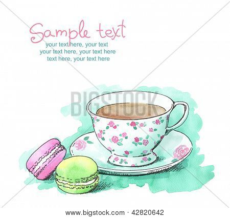 card with painted watercolor french dessert macaroons and a cup of tea