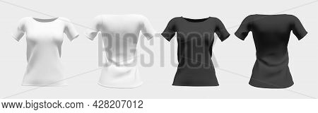 Realistic Womens T-shirt In White And Black With Short Sleeves. Front And Back View Mockup. Isolated