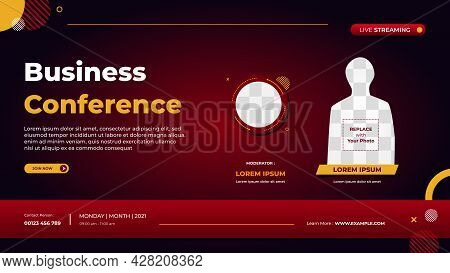 Business Conference Banner Template For Website With Circle Frame And Minimal Concept Of Red Geometr