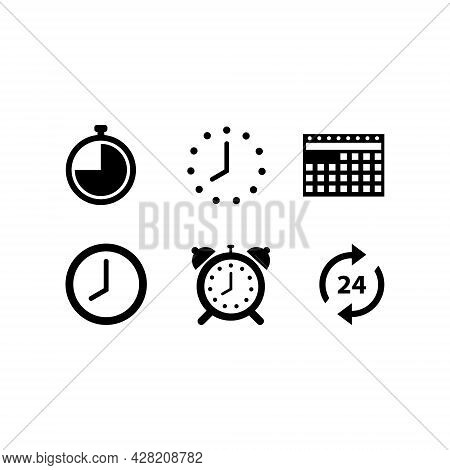 A Set Of Wall Clock And Calendar Vector Illustrations For Icons, Timepiece Symbols. Time Icon