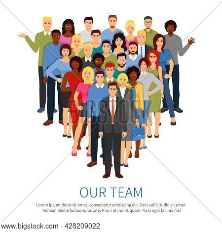 Professional People Group Flat Composition Poster With Top Office Business Team Manager And Staff Me