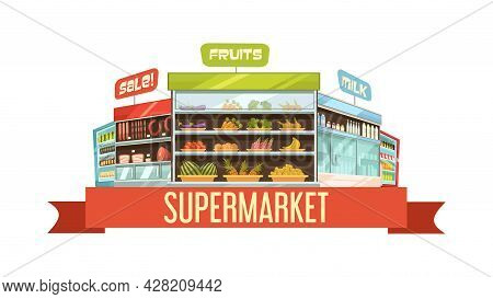 Supermarket Display Stand Retro Composition Poster With Dairy Products And Fruits Shelves Racks Cart