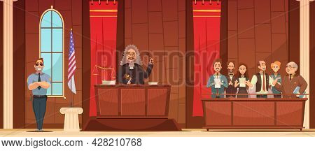 American Court Of Law Judicial Legal Proceedings In Courthouse With Judge   And Jury Box Retro Poste