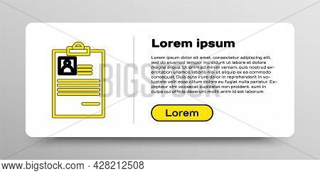 Line Clipboard With Resume Icon Isolated On White Background. Cv Application. Curriculum Vitae, Job