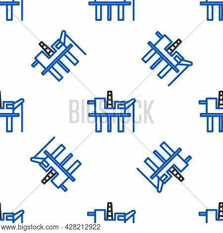 Line Oil Platform In The Sea Icon Isolated Seamless Pattern On White Background. Drilling Rig At Sea