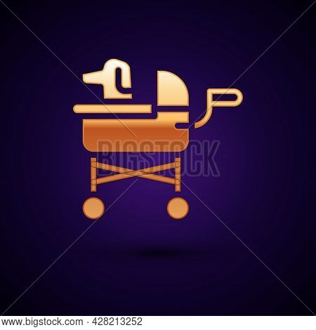 Gold Pet Stroller Icon Isolated On Black Background. Vector