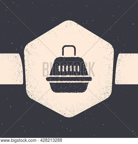 Grunge Pet Carry Case Icon Isolated On Grey Background. Carrier For Animals, Dog And Cat. Container