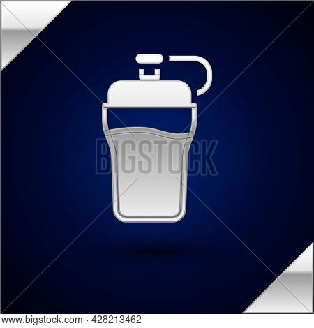 Silver Fitness Shaker Icon Isolated On Dark Blue Background. Sports Shaker Bottle With Lid For Water