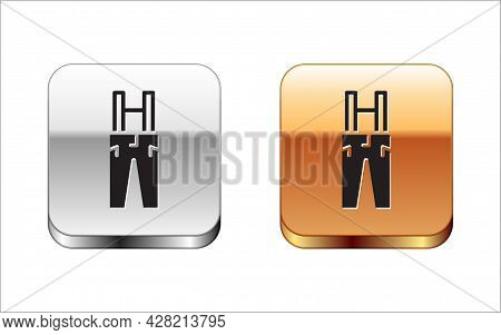 Black Pants With Suspenders Icon Isolated On White Background. Silver-gold Square Button. Vector