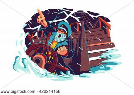 Captain Character Standing At Helm Of Boat Vector Illustration. Storm, Rain And Big Waves Flat Style