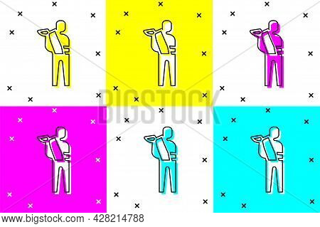 Set Human Broken Arm Icon Isolated On Color Background. Injured Man In Bandage. Vector