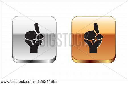 Black Hands In Praying Position Icon Isolated On White Background. Praying Hand Islam Muslim Religio