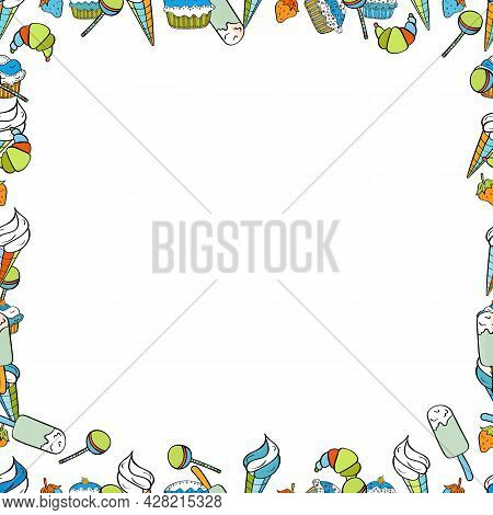 Picture In Black, White And Blue Colors. Quadratic Frames Doodles. Vector. Seamless.