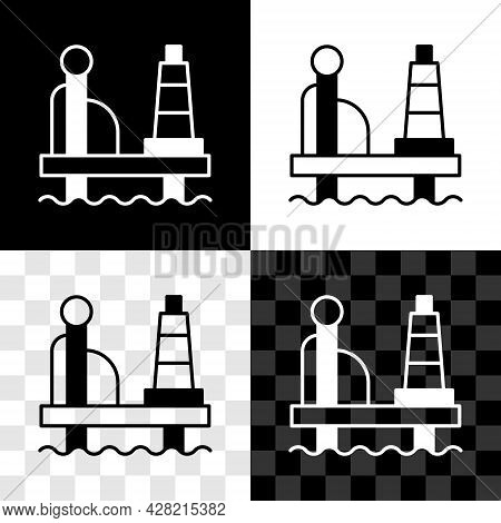 Set Oil Platform In The Sea Icon Isolated On Black And White, Transparent Background. Drilling Rig A