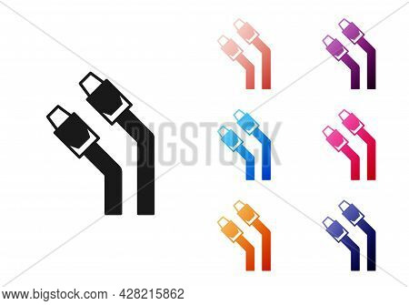 Black Lan Cable Network Internet Icon Isolated On White Background. Set Icons Colorful. Vector