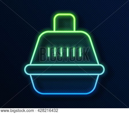 Glowing Neon Line Pet Carry Case Icon Isolated On Blue Background. Carrier For Animals, Dog And Cat.