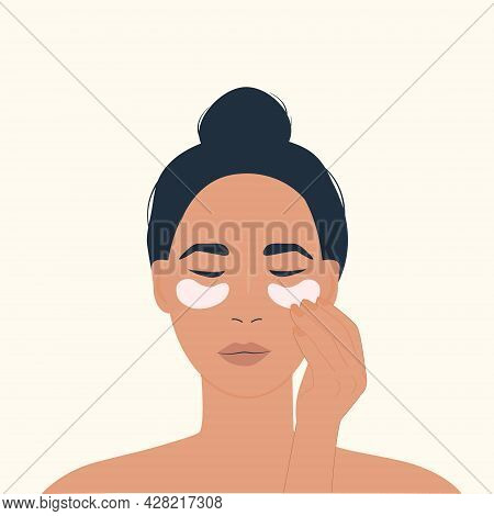 A Female Character Using Eye Patches. Skin Care Routine. Facial Beauty Products For Anti-aging. Wome