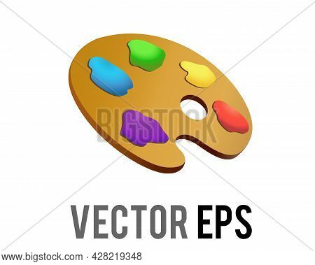 Vector Artist Palette Icon Used When Painting, To Store And Mix Paint Colors