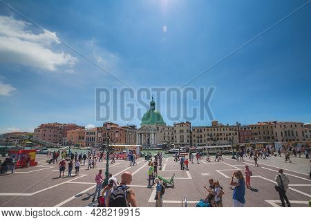 Venice, Italy - June 15, 2016 View To Grand Canal From Santa Luchia Railway Station On Sunny Day, Ma