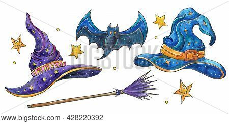 Set With Magic Hats.colorful Watercolor Illustration Of A Witch Hats,bat,broom And Stars . Halloween