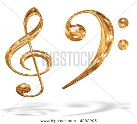 3D Gold Pattern Musical Key Symbols Concept Isolated