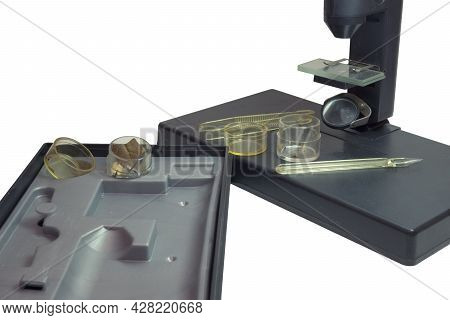 Monocular Microscope With Plane Mirror Illumination, Accessories, Specimens, Case For Storing And Pl