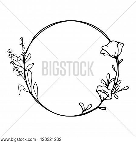 Hand Drawn Poppy Flower Wreath In Cute Doodle Style On Transparent Background. Luxury Vector Llustra