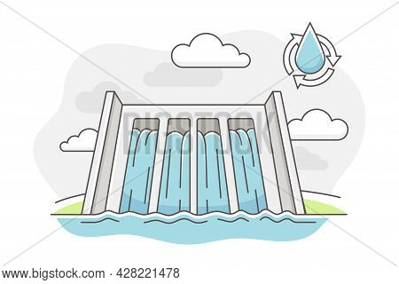 Energy Source With Hydropower And Dam For Stopping Flow Of Surface Water Line Vector Illustration