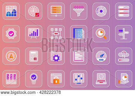 Big Data Analysis Web Glassmorphic Icons Set. Pack Outline Pictograms Of Graphs And Charts, Business