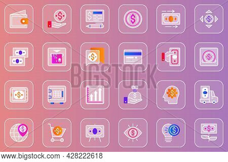 Money Web Glassmorphic Icons Set. Pack Outline Pictograms Of Wallet, Payment, Money Exchange, Cash A