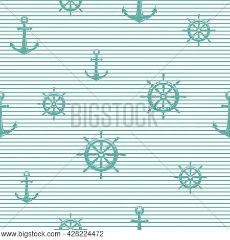 Nautical Seamless Striped Pattern With Blue Helms And Anchors On White. Ship And Boat Steering Wheel
