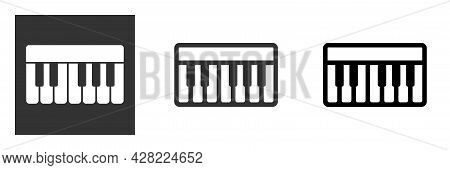 Musical Synthesizer Piano Keyboard Icon, White, Gray And Black Color, Isolated. Vector Illustration