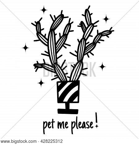 Cute Cartoon Cactus Vector Illustration. Black Outline Of An Elongated Cactus With Thorns. Hand-draw