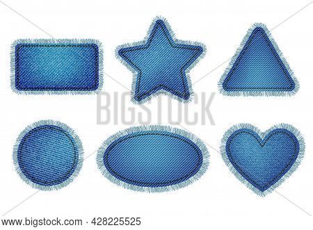 Set Of Blue Denim Patches With Stitch And Fringe. Light Blue Denim. Patches Of Different Shapes: Rec