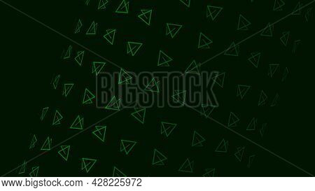 Transparent Triangle Shape. Motion. Lot Of Rotating Triangles Form Figure On Dark Background. Triang