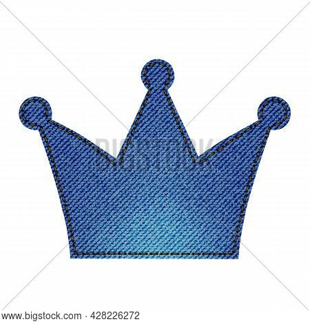Denim Patch In The Shape Of A Crown. Light Blue Denim. Textile Texture Modern Label. Vector Realisti