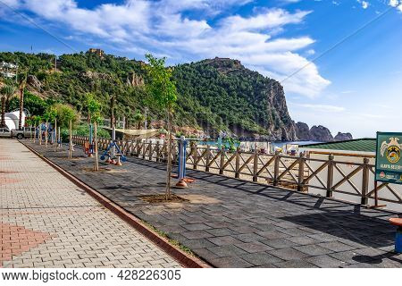 Alanya, Turkey - October 23, 2020: Sports Ground On The Embankment In Alanya On The Backdrop Of A Mo