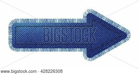 Denim Patch In The Shape Of An Arrow With Fringe. Light Blue Denim. Textile Texture Modern Label. Ve