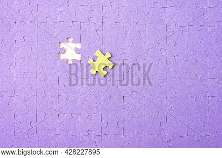 The Word Finish On Missing Puzzle Piece. To Finish Or Complete A Task Concept. Solving A Complex Pro