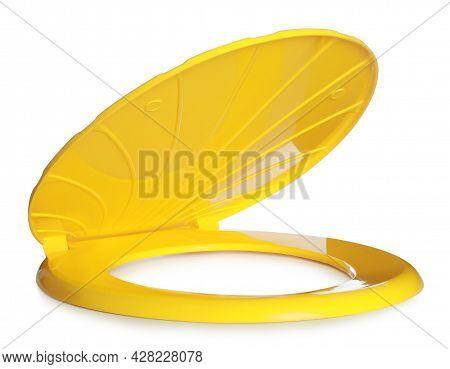 New Yellow Plastic Toilet Seat Isolated On White