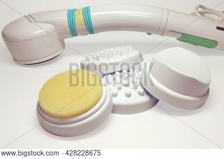 Handheld Massager With Infrared Heater. Device For Vibro Massage Of Body And Face, With Interchangea