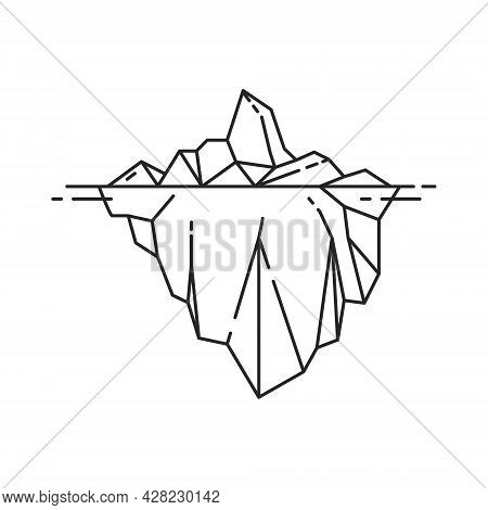 Iceberg Icon In Outline Style. Vector Illustration On White Background.