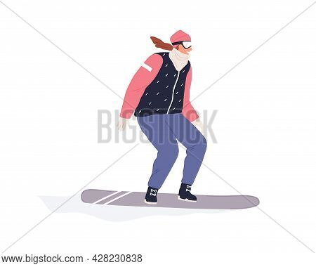 Happy Female Snowboarder Riding Snowboard. Active Person Sliding On Snow Board. Motion Of Smiling Ex