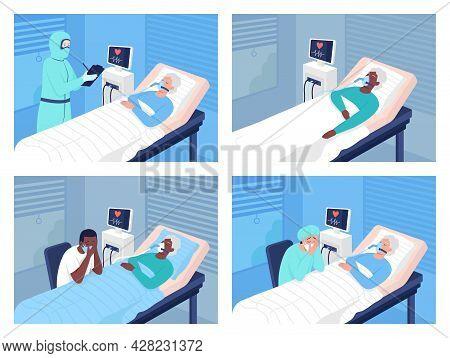 Intensive Care Unit In Hospital Flat Color Vector Illustrations Set. Coronavirus Hospitalization. Li